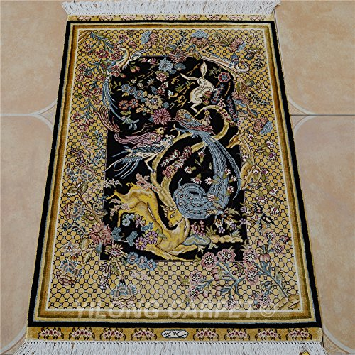 Yilong 2'x3' Handmade Oriental Persian Silk Rug Tapestry Animals Pattern Hand Knotted Home Wall Hanging Carpet (2 Feet by 3 Feet, Black & Yellow) 0454 - Persian Silk Tapestry