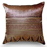 Handmade Throw Pillow Covers Art Decorative Thai silk Sukhothai designThread 16''x16'' RedPink
