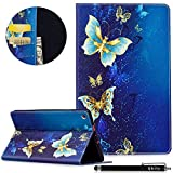 Qbily All-New Amazon Fire HD 8 Case Golden Butterfly Lightweight Flip Leather Protective Case Girls Women Folio Stand Cover for Fire HD 8 Tablet (7th Generation, 2017 Release Only) - Blue