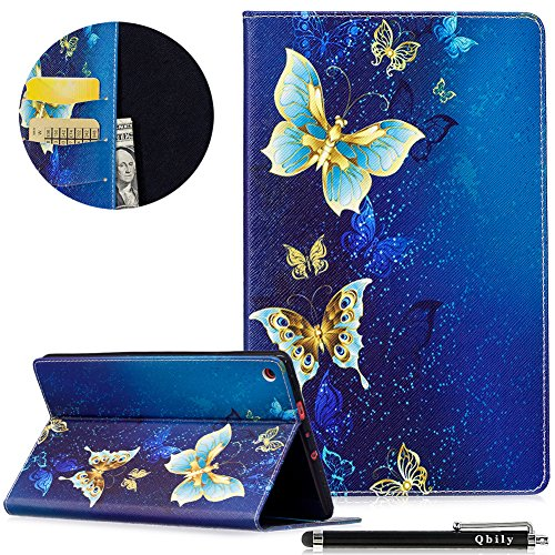 Qbily All-New Amazon Fire HD 8 Case Golden Butterfly Lightweight Flip Leather Protective Case Girls Women Folio Stand Cover for Fire HD 8 Tablet (7th Generation, 2017 Release Only) - (Logo Light Pen)