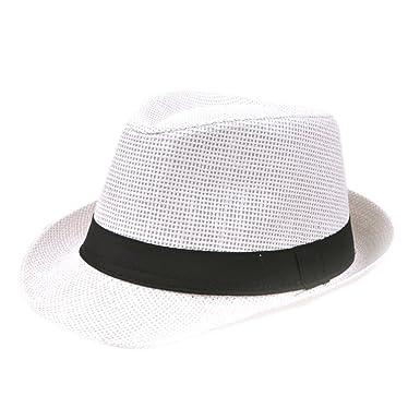 Westeng Jazz Straw Hat Men Women Beach Sun Hats Sun Protection Linen Straw afb6a9436e5e