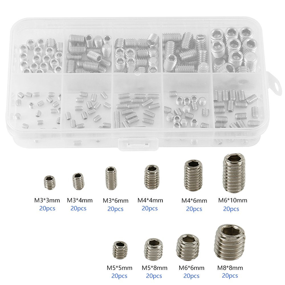 KUUQA 240 Pcs Cup Point Grub Screw Hex Head Allen Screw Set M3 M4 M5 M6 M8 with Small Allen Key Wrench M1.5 M2 M2.5 M3 M4 Stainless Steel Assortment Fasteners Kits