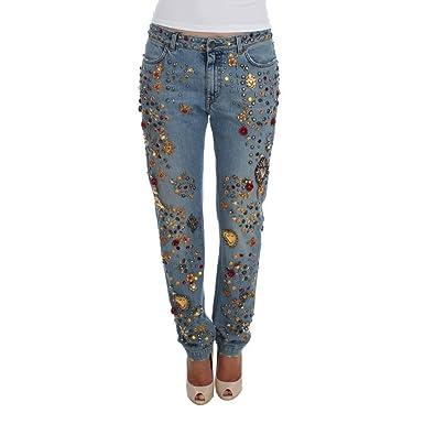 04594b14c2 Dolce & Gabbana Crystal Roses Heart Embellished Jeans: Amazon.co.uk ...