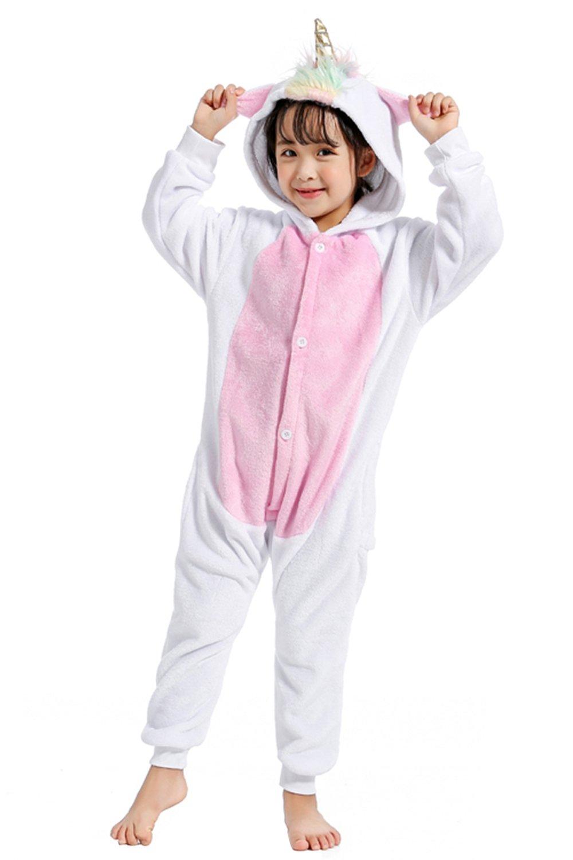 Woneart Kinder Schlafanzug Einhorn Pyjama Tier Overall Tierkostüme Halloween Kostüme Cosplay Jumpsuit Weihnachten Karneval Party Verrücktes Kleid für Mädchen Jungen Baby (85 for 90-104cm, Blue)