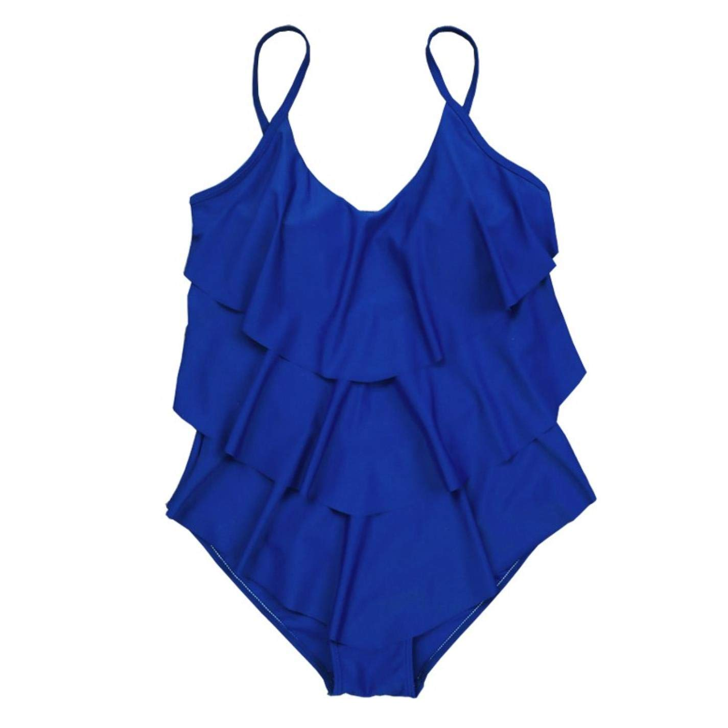 QVKis Women One Piece Swimsuit Swimwear Ruffle Swim Bathing Plus Size