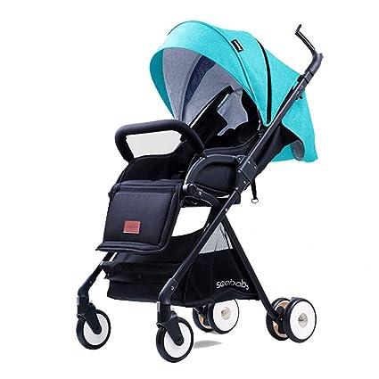 XUE Cochecito de bebé, Alto Paisaje portátil Amortiguador de Cuatro Ruedas bebé con Sistema de