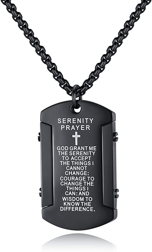 Molike Stainless Steel Men's Cross and Bible Verse Prayer Dog Tag Pendant Necklace, Christian Jewelry