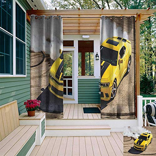 Calypso Car Kit - leinuoyi Manly, Outdoor Curtain Kit, Yellow Sports Car Drifting Photography Smoke Fast Speed Competition Picture, Outdoor Patio Curtains W72 x L96 Inch Yellow Warm Taupe