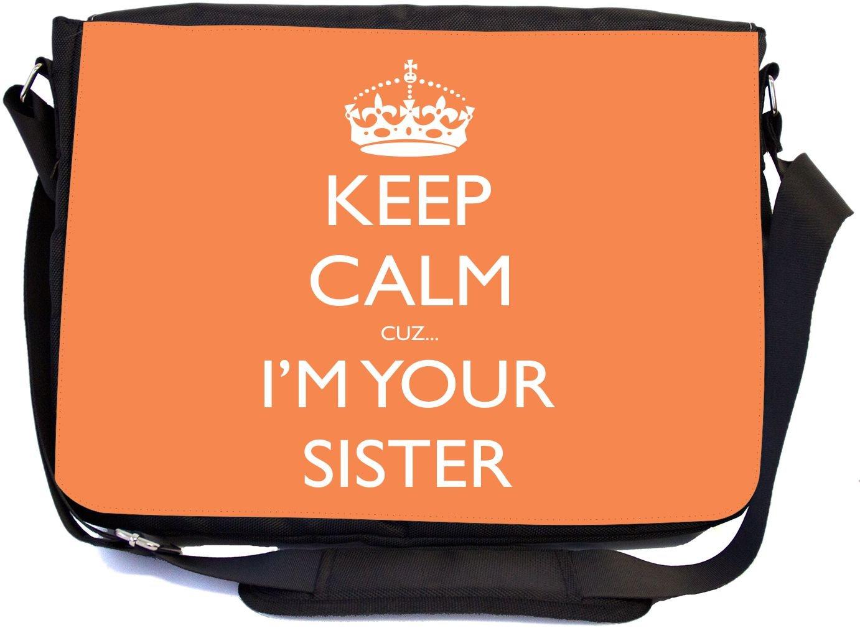 mbcp-cond46142 Messenger School Bag Rikki Knight Keep Calm Cuz Im Your Sister Design