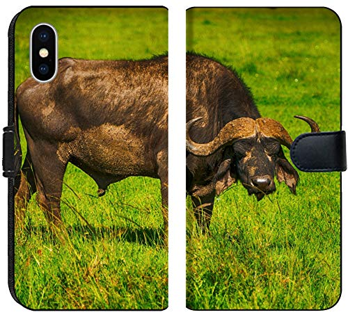 Apple iPhone X Flip Fabric Wallet Case Male Cape Buffalos Standing in Short Grass Image 34700099 Customized Tablemats Stain Re ()