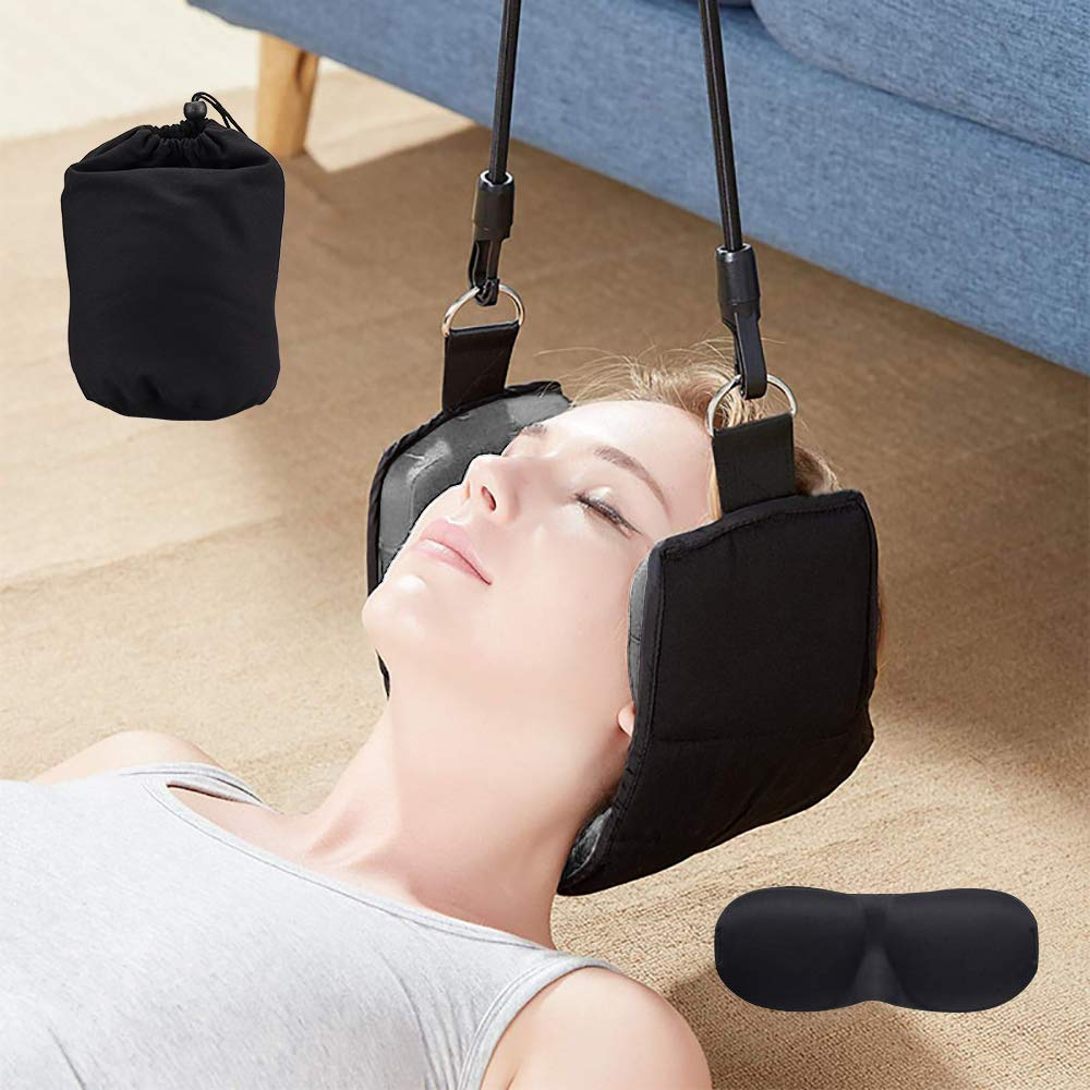 Neck Hammock LitPrin - Portable Cervical Traction Device, Super Thick Reinforcement for Prevent Injury, Medical Neck Hammock,Improve Head and Neck Pain for Office, Family, Travel etc.with an Eye Mask