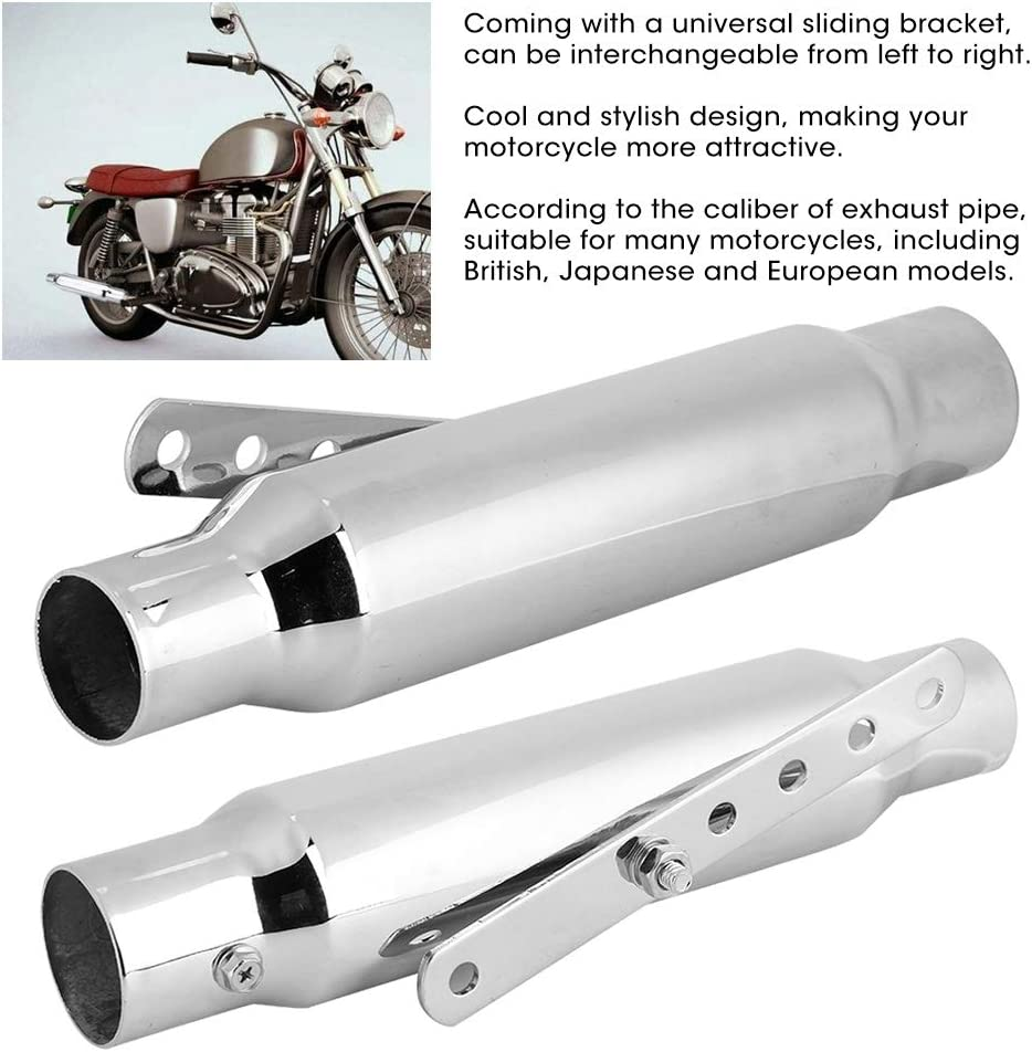 Motorcycle Exhaust Pipe Universal Retro Antique Muffler Modified System Electroplated Silver
