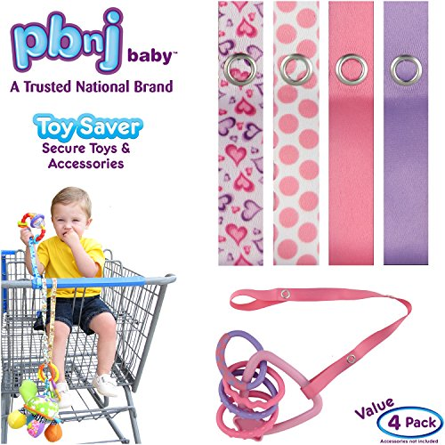 Best Prices! PBnJ baby Toy Saver Strap Holder Leash Secure Accessories Heart/Dot/Pink/Lavender - 4pc
