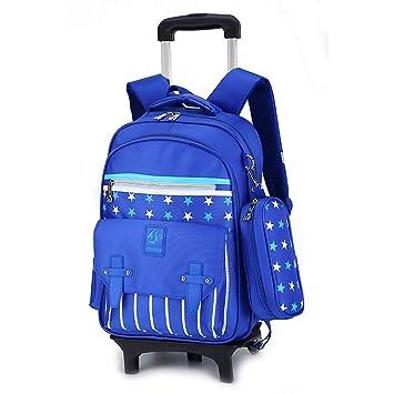 Girls School Bag Children Climb Stair Trolley Bookbag Kids Wheeled Backpack new