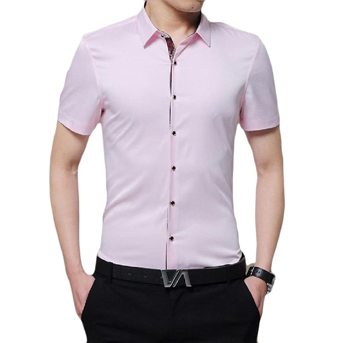 QueenHandsMen QueenHands Mens Pure Color Button-Front Novelty Short Sleeve Dress Shirts Tops