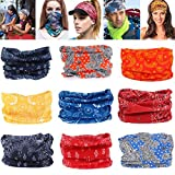 Geberiela Seamless Headband Versatile 16-in-1 Stretchable Headwear Bandana Head Wrap Sweatband Scarf, Balaclava, Helmet Liner, 9 Piece