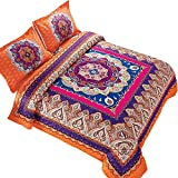 Colorful King Size Comforter Sets Wake In Cloud - Mandala Comforter Set, Orange Bohemian Boho Chic Medallion Pattern Printed, Soft Microfiber Bedding (3pcs, King Size)