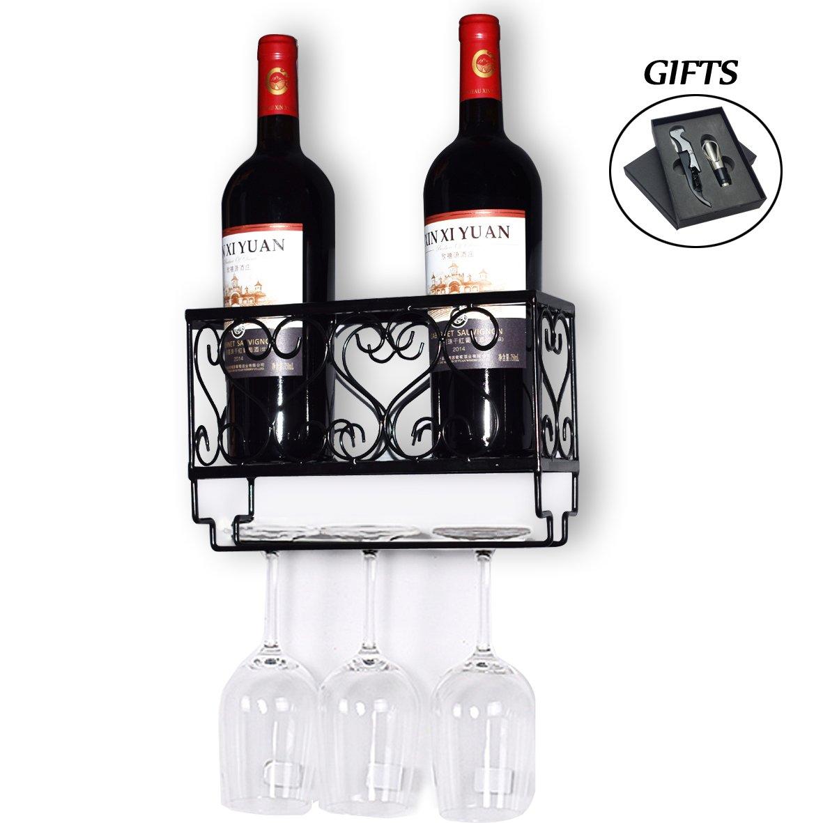 HOMEPOPULAR Metal Wall Mounted Wine Rack With Glass Holder And Bottles Opener Wine Bottle Holder For Living Room Or Kitchen,Black(Hold 2 bottles) by HOMEPOPULAR