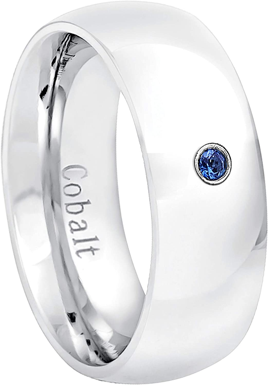 Jewelry Avalanche 7MM Comfort Fit Polished Dome Cobalt Chrome Wedding Band 0.07ct Blue Sapphire Cobalt Ring