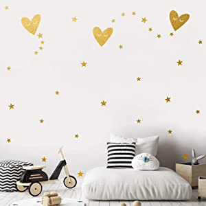 Heart Shaped Star Wall Decals, Easy Paste Vinyl Kids Room Decor for Girls Boys, Good Night Nursery Wall Decor,Wall Stickers for Living Room Gold Wall Decor