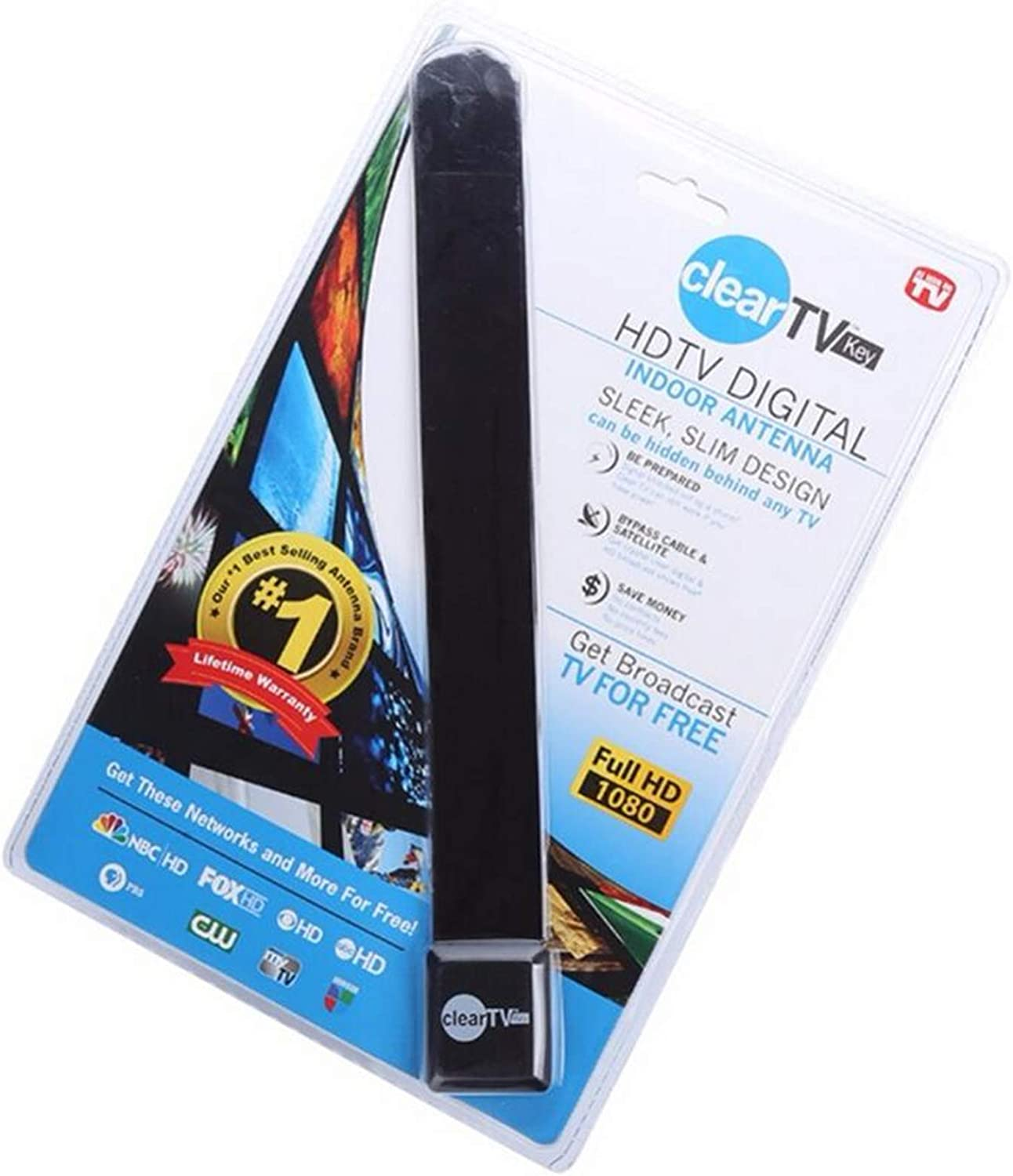 JMRoo Clear TV Key Digital Indoor Antenna As Seen on TV HD TV Free TV Digital Receive Satellite TV Indoor Antenna Ditch Cable As Seen on TV