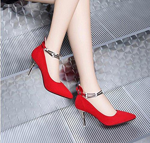 Au Nouvelle Pointe Au Lumière Travail Seule Chaussures 7Cm Heeled Chaussures Rouge Cuir KHSKX Femmes Mis Hauts Avec Talons Amende Printemps La 37 La High Fn7x4qz