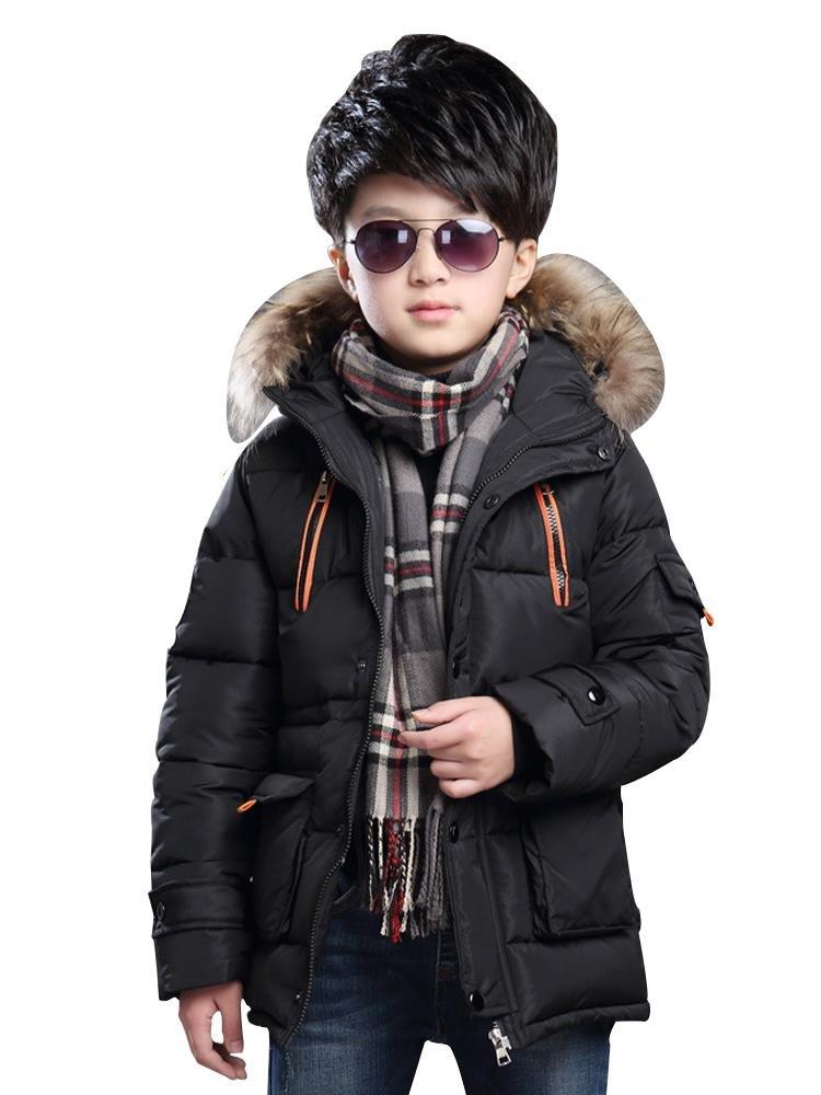 Boy's Winter Hooded Cotton Coat Jacket Parka Outwear Black Tag 130CM
