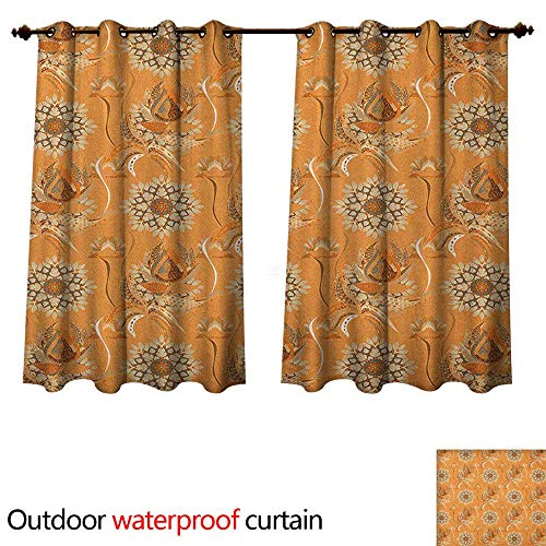 Anshesix Tan and Brown Outdoor Curtain for Patio Ornamental Ottoman Garden Pattern with Tulips and Blossoming Flowers W72 x L72(183cm x 183cm)