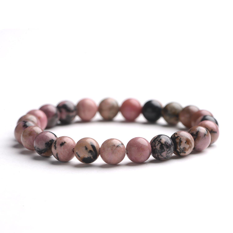 iSTONE Men Women 8mm Natural Stone Beads Bracelet Stretch Beaded Chakra Reiki Healing Bracelet 7 '' by iSTONE