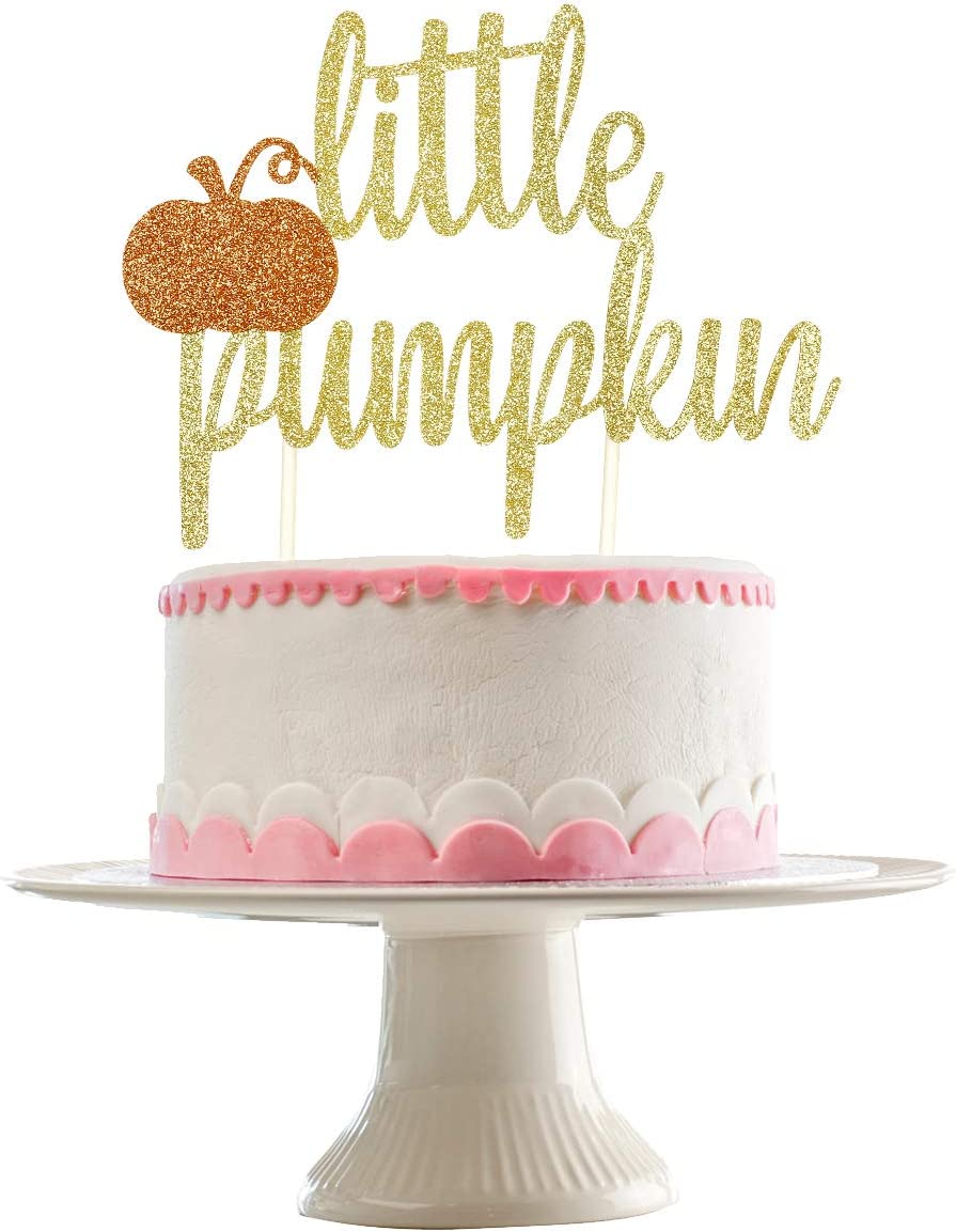 Gold Glittery Little Pumpkin Cake Topper for Baby Shower Party Decor,Kids Birthday Party,Fall Theme Birthday Party Decorations