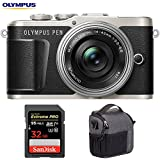 Olympus V205092BU010 PEN E-PL9 16.1 MP Wi-Fi 4K Mirrorless Camera (Onyx Black) w/Silver 14-42mm F3.5-5.6 EZ Lens Kit + Sandisk 32GB Extreme PRO SDXC Memory Card + Tamrac Tradewind 2.6 Shoulder Bag