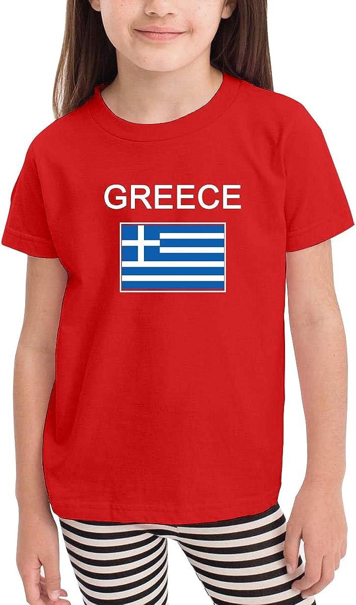 Greece Flag Unisex Youths Short Sleeve T-Shirt Kids T-Shirt Tops Black