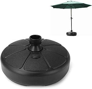 Topwv Patio Umbrella Base Stand, Heavy Duty Outdoor Umbrella Holder, Round Parasol Base Plastic, Water Fillable Market Umbrella Support Stand Base for Beach Garden Patio Deck Lawn