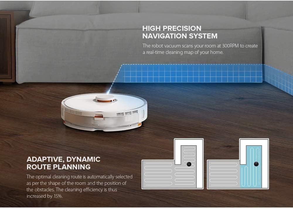 TeRIydF Robot de Navigation aspirateur WiFi APP contrôle Balayage Automatique White