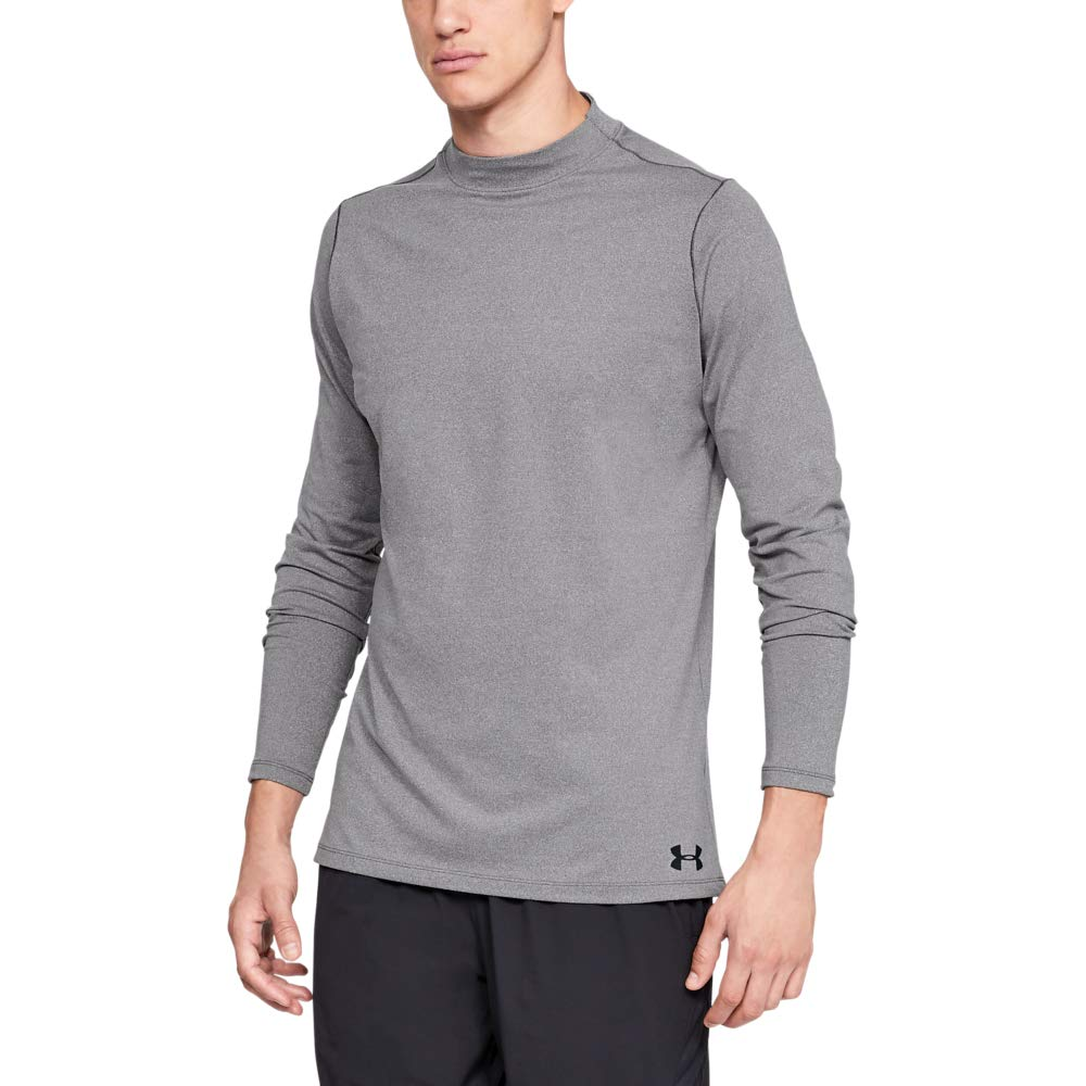 Under Armour Men's ColdGear Armour Compression Mock Long Sleeve Shirt, Charcoal Light Heath (019)/Black, Small by Under Armour