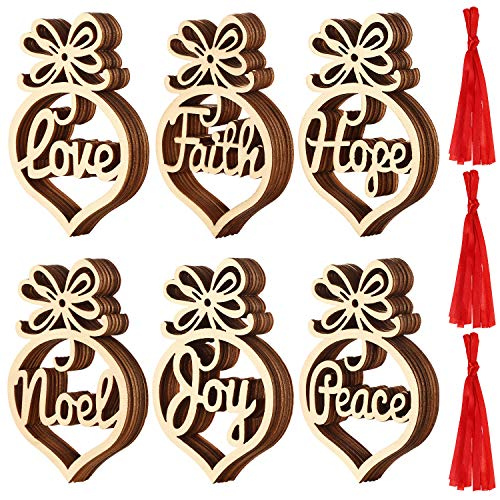 SATINIOR Christmas Wooden Ornaments Xmas Tree Hanging Tags Pendant Hollow Out Ornaments for Christmas Decorations, 6 Styles (36) (Hope Trees Christmas)