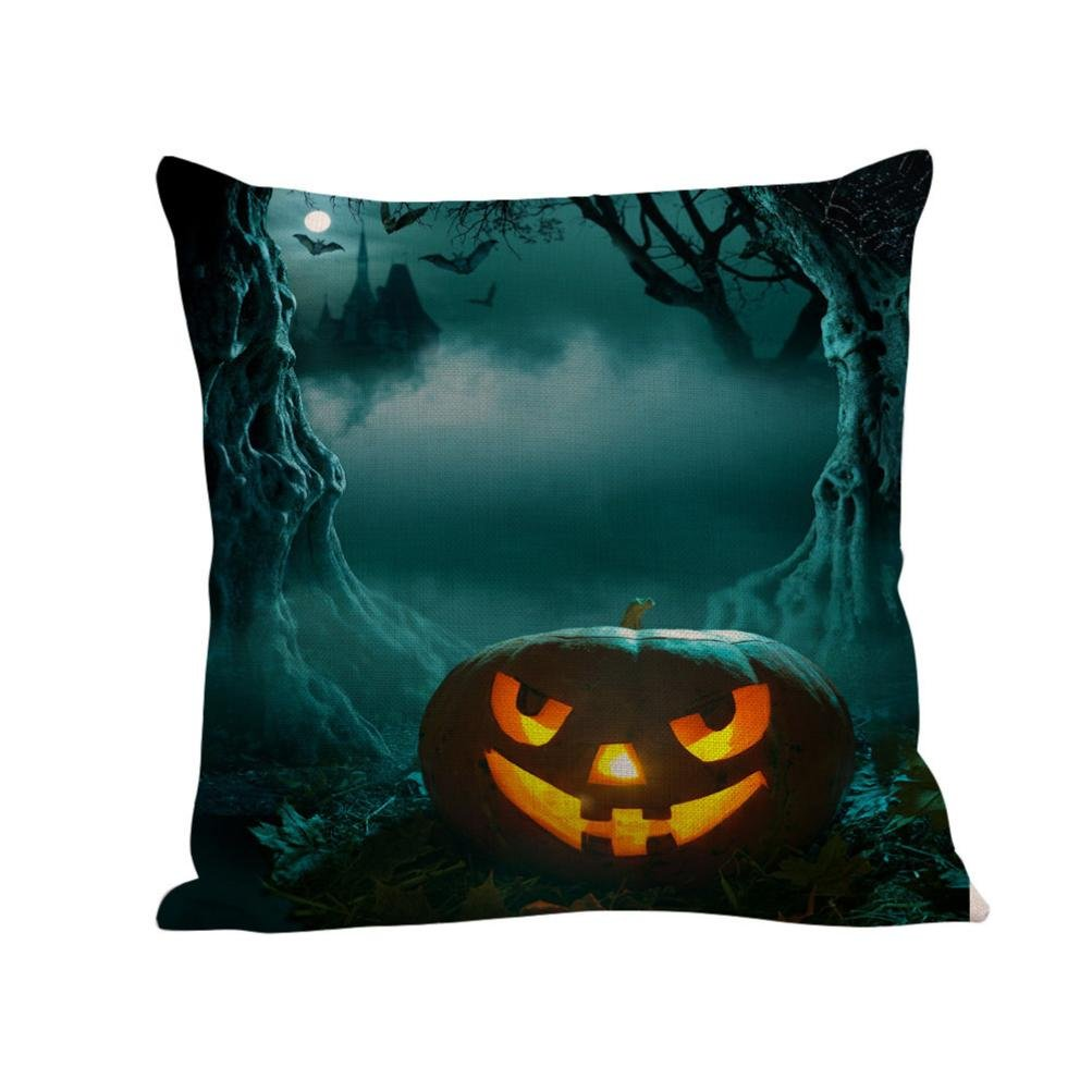 2017 Halloween Day Pillow Case,Elevin(TM)New Happy Halloween Day Pillow Cases Linen Sofa Cushion Cover Home Decor (G)