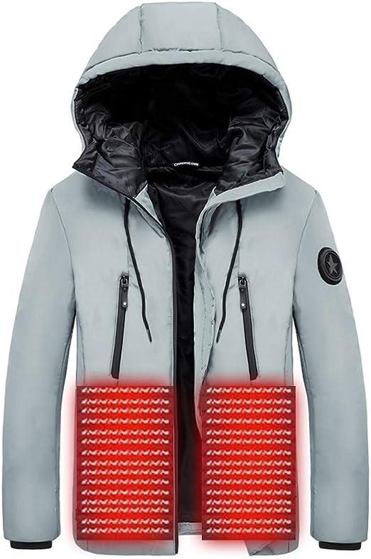 Meilaifushi 電熱ジャケット メンズ 充電式ヒート USB 加熱 バッテリー給電 複数のヒーター ファー付き 3段温度調整 前後独立温度設定可能 超軽量 暖かい アウトドア 防寒対策 スキー スケート 登山 釣り 冷え性に対応