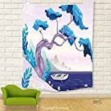Vipsung House Decor Tapestry_Coastal Decor Fantastic Landscape Bonsai Tree Sea Water Lilies Daisies And Boat Blue Light Blue Lilac_Wall Hanging For Bedroom Living Room Dorm