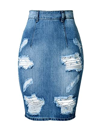 bc0294501f ColorFino Women's High Waist Washed Jeans Skirts Denim Pencil Skirts at  Amazon Women's Clothing store: