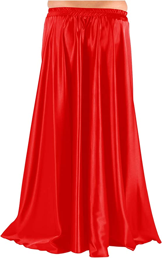 RED Chiffon 2 Front Slit Full Circle Skirt Belly Dance Gypsy Costumes S~3XL