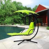 Cloud Mountain Hanging Chaise Lounger Chair Air Porch Floating Swing Hammock Chair With Arc Stand and Canopy Umbrella, Green