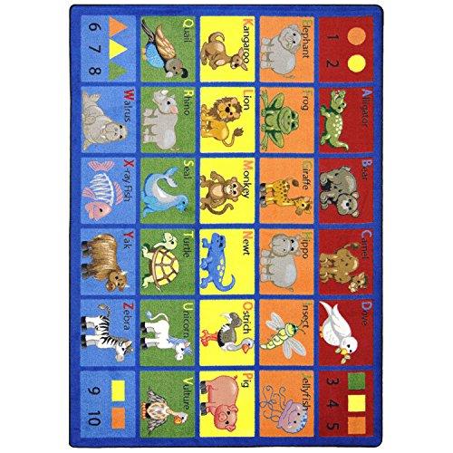 Joy Carpets Kid Essentials Early Childhood Animal Phonics Rug, Multicolored, 7'8'' x 10'9'' by Joy Carpets