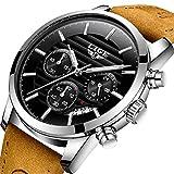 Watches, Mens Watches Fashion Casual Brown Leather Sport Quartz Watch Men Luxury Brand Waterproof Watch
