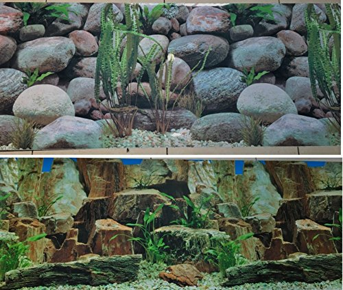 19 Inch Height Double Sided Aquarium Background Decorations Rocks And Stones (72''(L) x 19'' (H)) by Karen Low