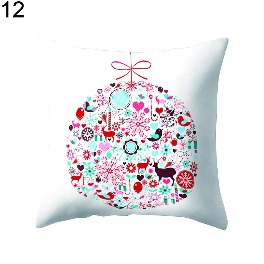 Colorido Christmas Pattern Throw Pillow Case Cushion Cover Home Waist Sofa Car Decor size Medium (12#)