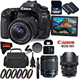 Canon EOS 80D DSLR Camera with 18-55mm Lens 1263C005 (International Version) + Sigma 135mm f/1.8 DG HSM Art Lens for Canon EF + 128GB SDXC Class 10 Memory Card + LP-E6N Lithium-Ion Battery Bundle