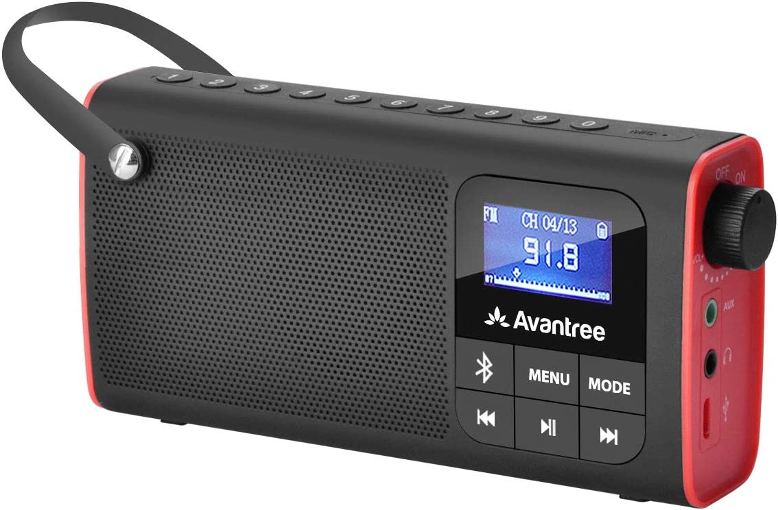 Avantree 3 en 1 Radio FM Portátil con Altavoz Bluetooth y Reproductor de Tarjeta SD MP3, Auto-búsqueda y Memorización, Pantalla LED, Batería Recargable Transistores Radios Pequeñas - SP850