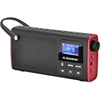 Avantree SP850 Rechargeable Portable FM Radio with Bluetooth Speaker and SD Card MP3 Player 3-in-1, Auto Scan Save, LED…
