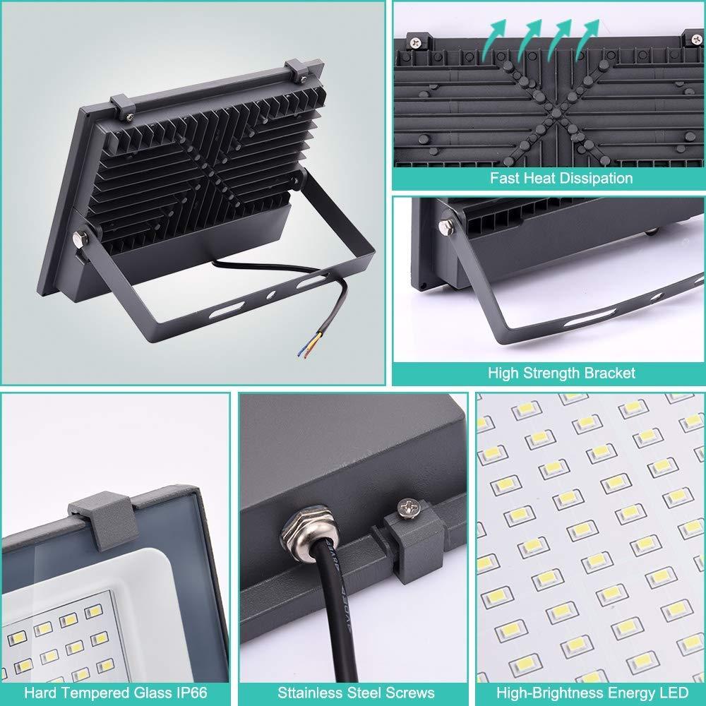 3000K Blanco c/álido para Patio Pared,Patio 300W LED Foco Exterior de alto brillo,30000LM Impermeable IP66 Proyector Foco LED Camino Jard/ín Iluminaci/ón de Seguridad